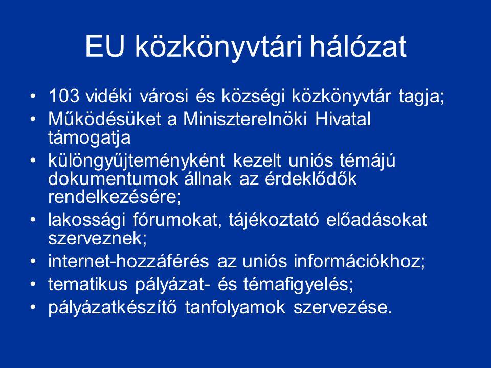 EU közkönyvtári hálózat •103 vidéki városi és községi közkönyvtár tagja; •Működésüket a Miniszterelnöki Hivatal támogatja •különgyűjteményként kezelt