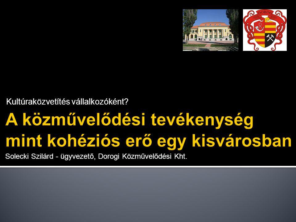 Kultúraközvetítés vállalkozóként? Solecki Szilárd - ügyvezető, Dorogi Közművelődési Kht.