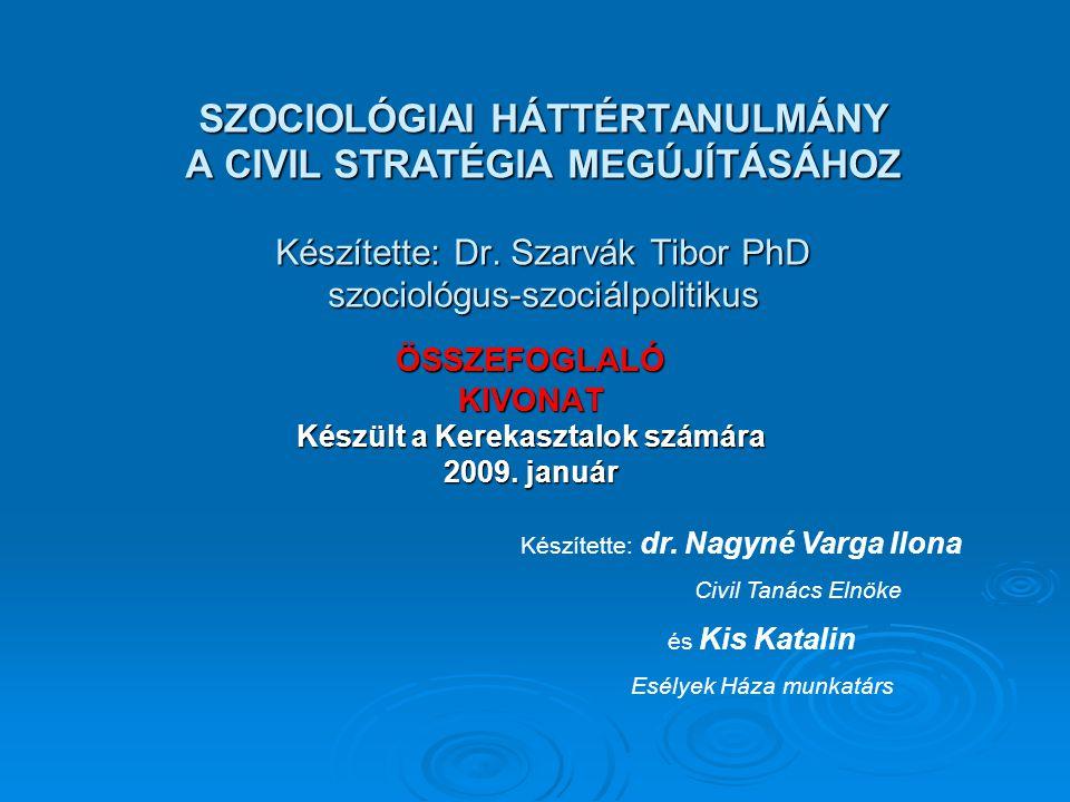 SZOCIOLÓGIAI HÁTTÉRTANULMÁNY A CIVIL STRATÉGIA MEGÚJÍTÁSÁHOZ Készítette: Dr.