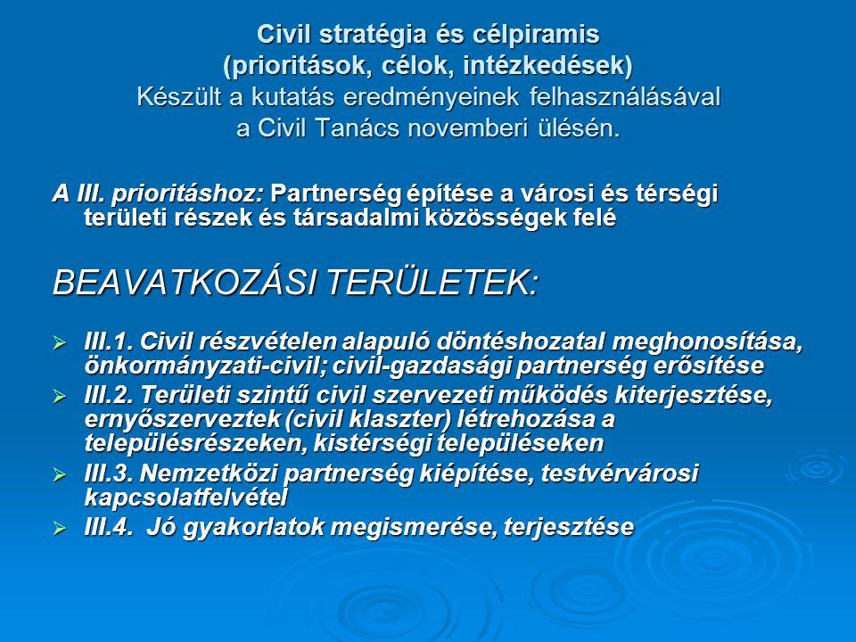 Civil stratégia és célpiramis (prioritások, célok, intézkedések) Készült a kutatás eredményeinek felhasználásával a Civil Tanács novemberi ülésén.