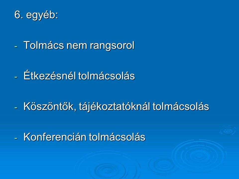 6. egyéb: - Tolmács nem rangsorol - Étkezésnél tolmácsolás - Köszöntők, tájékoztatóknál tolmácsolás - Konferencián tolmácsolás