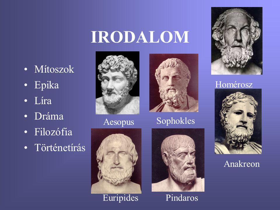 IRODALOM •Mítoszok •Epika •Líra •Dráma •Filozófia •Történetírás Homérosz Aesopus Anakreon Euripides Sophokles Pindaros