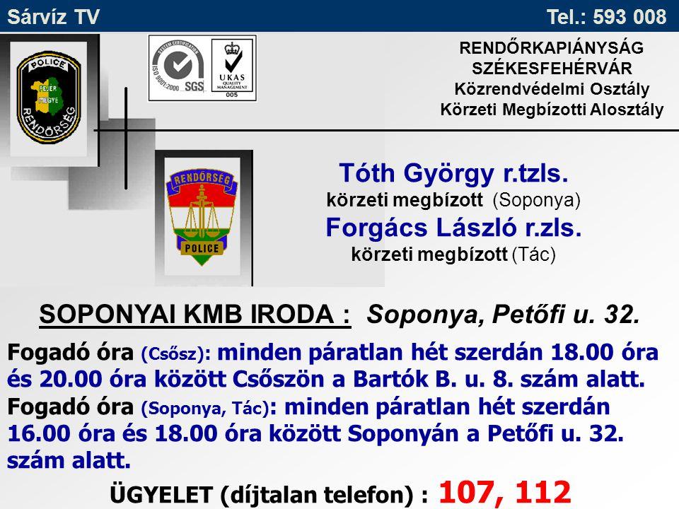Sárvíz TV Tel.: 593 008 RENDŐRKAPIÁNYSÁG SZÉKESFEHÉRVÁR Közrendvédelmi Osztály Körzeti Megbízotti Alosztály Tóth György r.tzls. körzeti megbízott (Sop