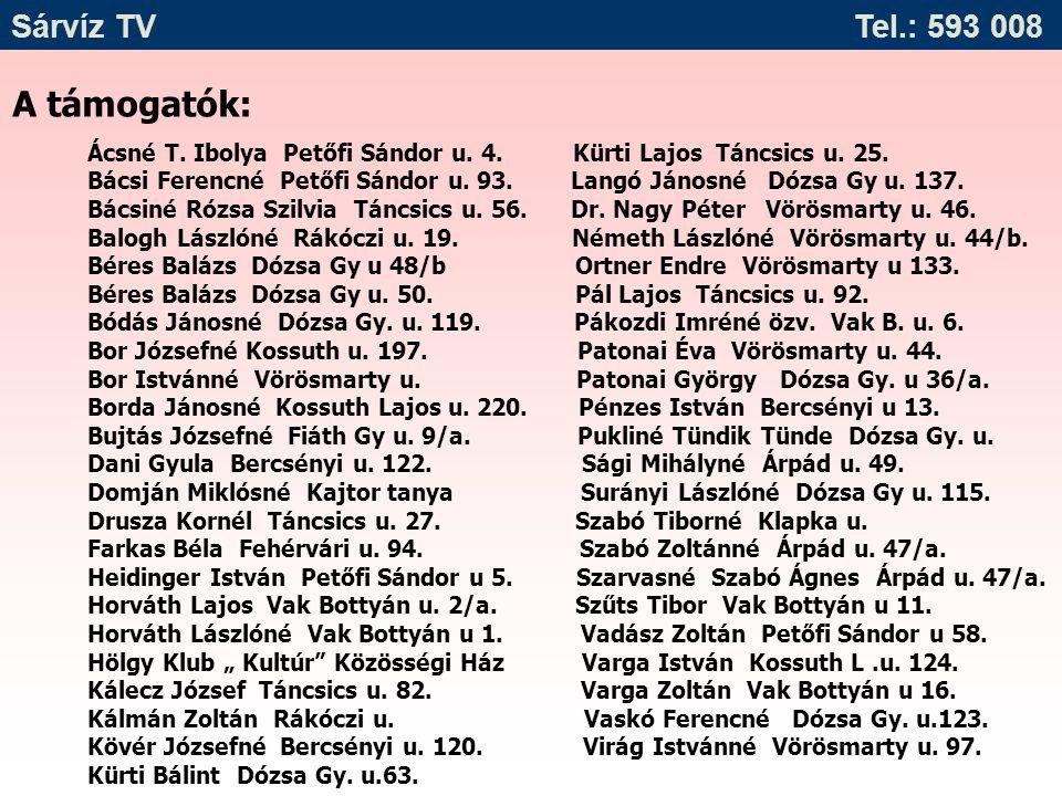 A támogatók: Ácsné T. Ibolya Petőfi Sándor u. 4. Kürti Lajos Táncsics u. 25. Bácsi Ferencné Petőfi Sándor u. 93. Langó Jánosné Dózsa Gy u. 137. Bácsin