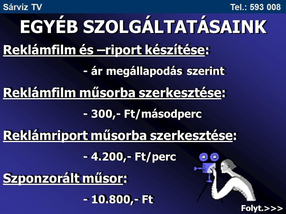 Sárvíz TV Tel.: 593 008