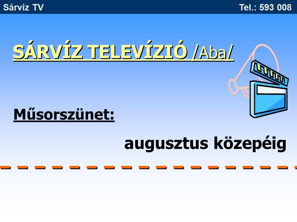 SÁRVÍZ TELEVÍZIÓ / Aba / Műsorszünet: augusztus közepéig