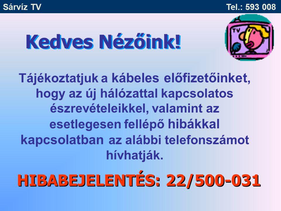 Sárvíz TV Tel.: 593 008 Tájékoztatjuk a Tisztelt Lakosságot, hogy a Sárvíz Kistérségben ügyfélszolgálat működik.