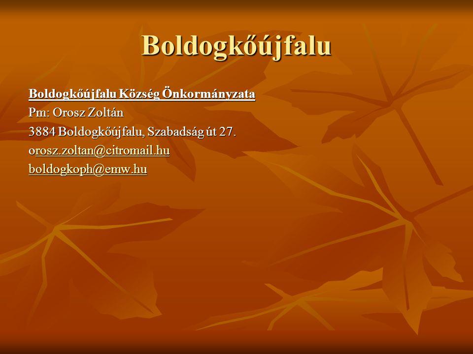Boldogkőújfalu Boldogkőújfalu Község Önkormányzata Pm: Orosz Zoltán 3884 Boldogkőújfalu, Szabadság út 27. orosz.zoltan@citromail.hu rosz.zoltan@citrom