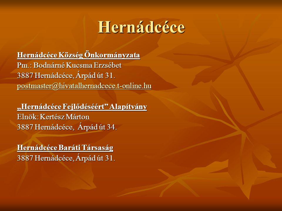 """Hernádcéce Hernádcéce Község Önkormányzata Pm.: Bodnárné Kucsma Erzsébet 3887 Hernádcéce, Árpád út 31. postmaster@hivatalhernadcece.t-online.hu """"Herná"""