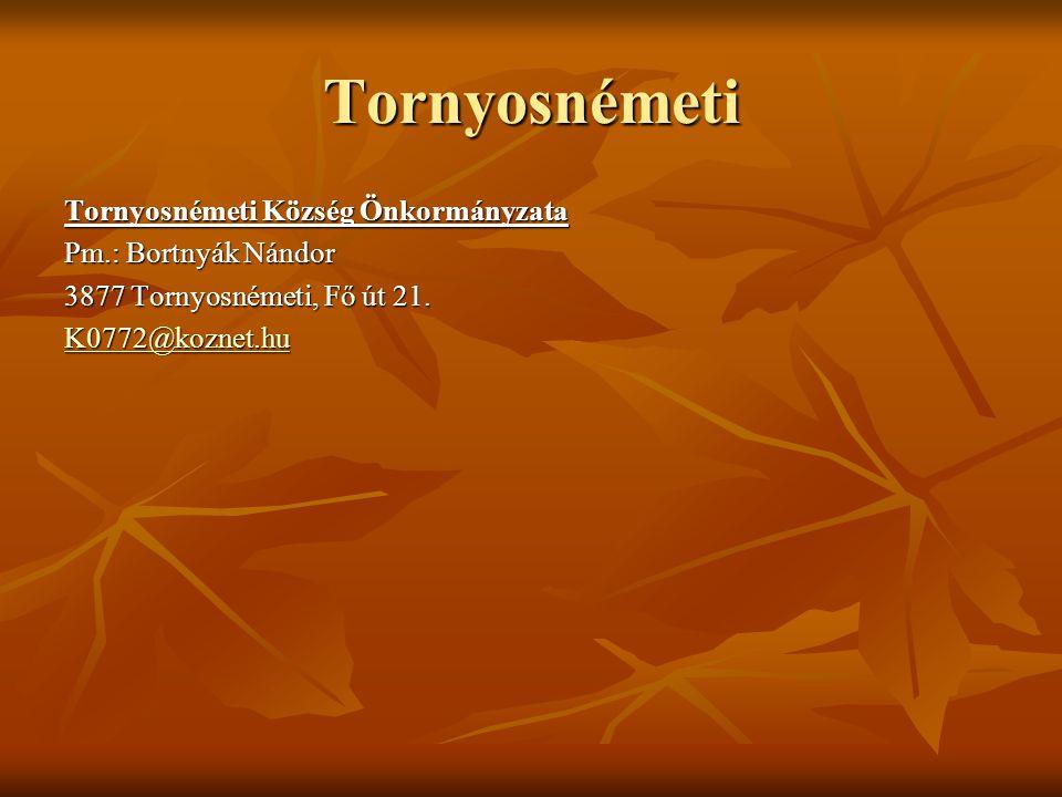 Tornyosnémeti Tornyosnémeti Község Önkormányzata Pm.: Bortnyák Nándor 3877 Tornyosnémeti, Fő út 21. K0772@koznet.hu