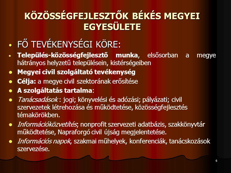 """7 KÖZÖSSÉGFEJLESZTŐK BÉKÉS MEGYEI EGYESÜLETE Közművelődési feladatellátás (Békés Megyei Önkormányzattal kötött szerződés alapján) Határ menti civil kapcsolatok erősítése Románia, Vajdaság; nemzetközi kapcsolatok: Mont Blanc Népfőiskola (EU-s pályázatok) Komplex szervezetfejlesztés (EU-s pályázati forrásokból, 32 civil szervezet érintően) Békés megyében 500 egyesülettel, alapítvánnyal, informális közösséggel vagyunk partneri kapcsolatban, de nem vagyunk szövetség, érdekérvényesítő szervezet, """"csak tanácsadó, szolgáltató egyesület."""