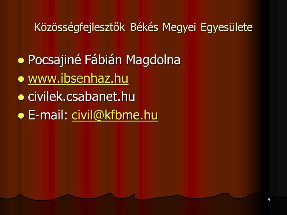  Pocsajiné Fábián Magdolna  www.ibsenhaz.hu www.ibsenhaz.hu  civilek.csabanet.hu  E-mail: civil@kfbme.hu civil@kfbme.hu 9