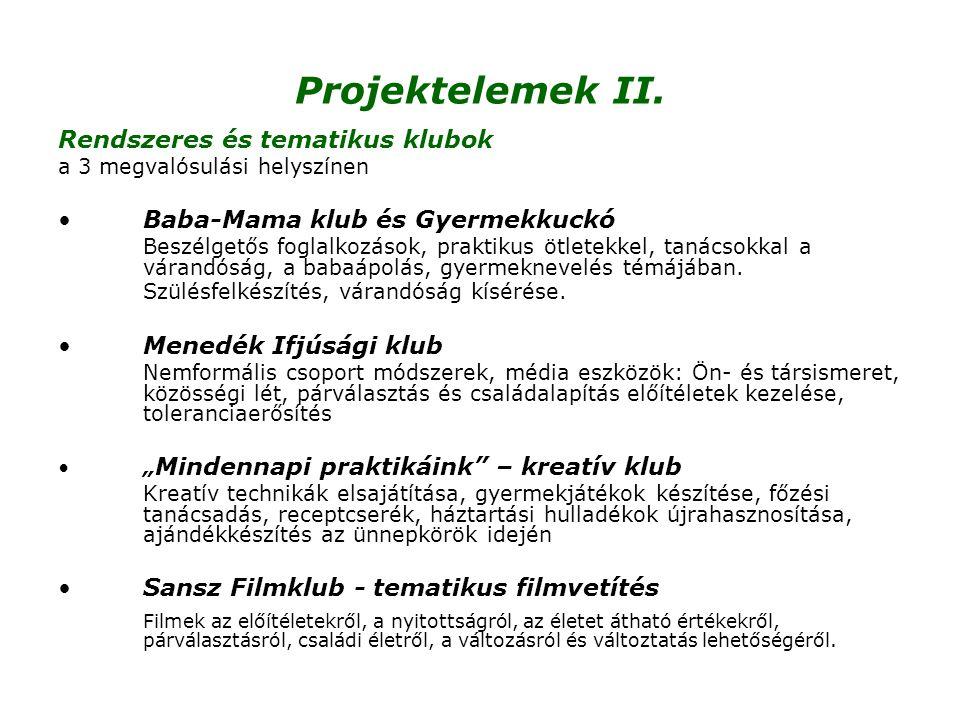 Projektelemek II. Rendszeres és tematikus klubok a 3 megvalósulási helyszínen •Baba-Mama klub és Gyermekkuckó Beszélgetős foglalkozások, praktikus ötl