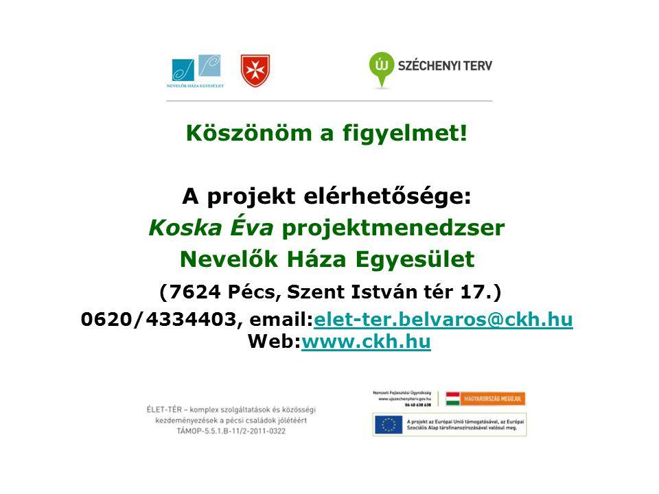Köszönöm a figyelmet! A projekt elérhetősége: Koska Éva projektmenedzser Nevelők Háza Egyesület (7624 Pécs, Szent István tér 17.) 0620/4334403, email:
