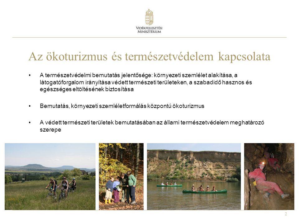 2 Az ökoturizmus és természetvédelem kapcsolata •A természetvédelmi bemutatás jelentősége: környezeti szemlélet alakítása, a látogatóforgalom irányítása védett természeti területeken, a szabadidő hasznos és egészséges eltöltésének biztosítása •Bemutatás, környezeti szemléletformálás központú ökoturizmus •A védett természeti területek bemutatásában az állami természetvédelem meghatározó szerepe