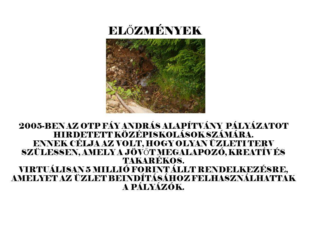 EL Ő ZMÉNYEK 2005-BEN AZ OTP FÁY ANDRÁS ALAPÍTVÁNY PÁLYÁZATOT HIRDETETT KÖZÉPISKOLÁSOK SZÁMÁRA.