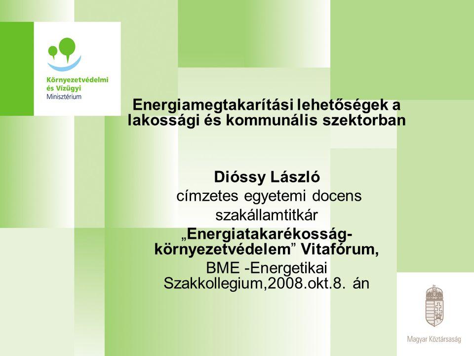 """Energiamegtakarítási lehetőségek a lakossági és kommunális szektorban Dióssy László címzetes egyetemi docens szakállamtitkár """"Energiatakarékosság- kör"""