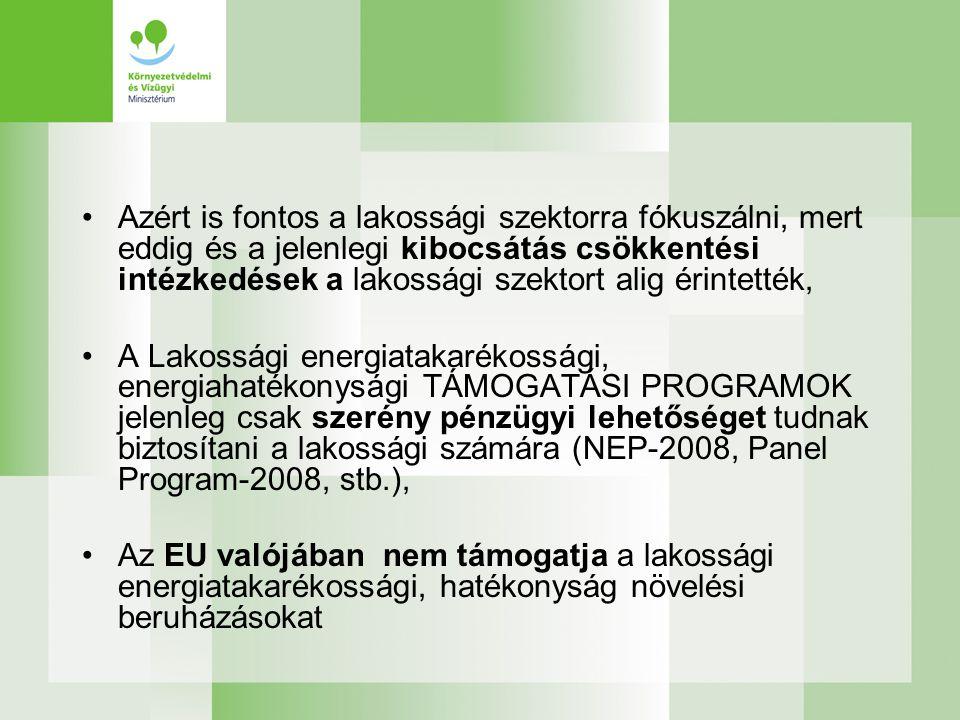 •Azért is fontos a lakossági szektorra fókuszálni, mert eddig és a jelenlegi kibocsátás csökkentési intézkedések a lakossági szektort alig érintették, •A Lakossági energiatakarékossági, energiahatékonysági TÁMOGATÁSI PROGRAMOK jelenleg csak szerény pénzügyi lehetőséget tudnak biztosítani a lakossági számára (NEP-2008, Panel Program-2008, stb.), •Az EU valójában nem támogatja a lakossági energiatakarékossági, hatékonyság növelési beruházásokat