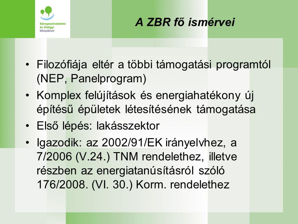 A ZBR fő ismérvei •Filozófiája eltér a többi támogatási programtól (NEP, Panelprogram) •Komplex felújítások és energiahatékony új építésű épületek létesítésének támogatása •Első lépés: lakásszektor •Igazodik: az 2002/91/EK irányelvhez, a 7/2006 (V.24.) TNM rendelethez, illetve részben az energiatanúsításról szóló 176/2008.