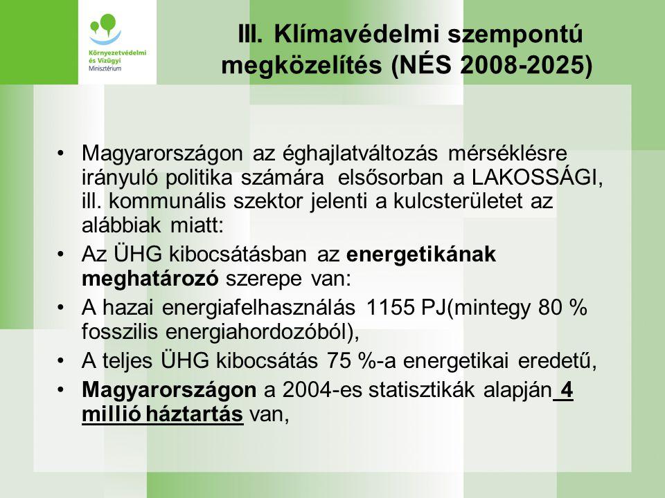 III. Klímavédelmi szempontú megközelítés (NÉS 2008-2025) •Magyarországon az éghajlatváltozás mérséklésre irányuló politika számára elsősorban a LAKOSS