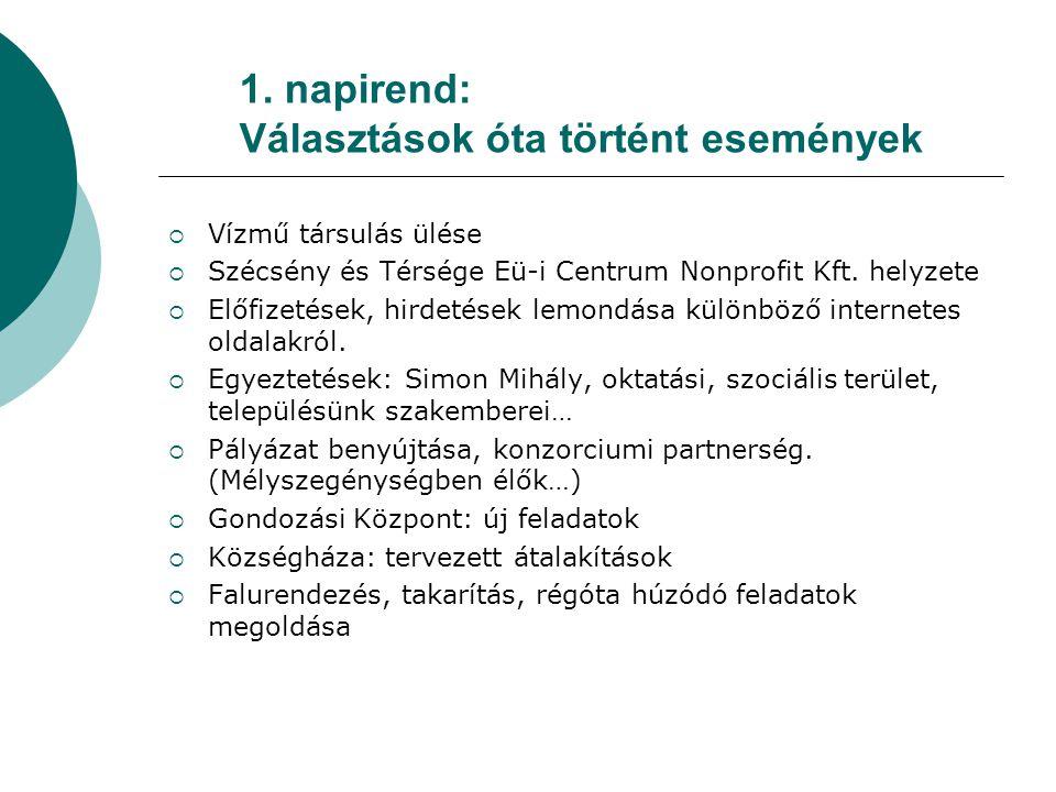 1. napirend: Választások óta történt események  Vízmű társulás ülése  Szécsény és Térsége Eü-i Centrum Nonprofit Kft. helyzete  Előfizetések, hirde