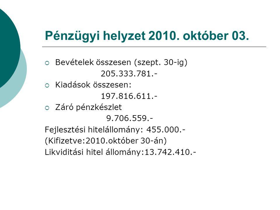 Pénzügyi helyzet 2010. október 03.  Bevételek összesen (szept.