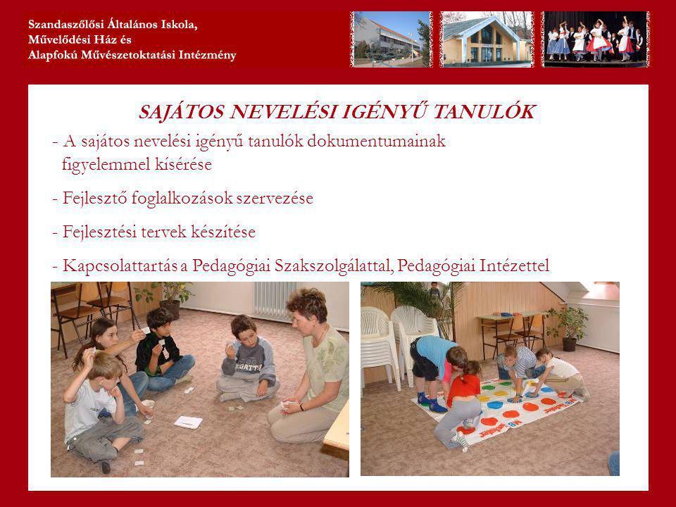 SAJÁTOS NEVELÉSI IGÉNYŰ TANULÓK - A sajátos nevelési igényű tanulók dokumentumainak figyelemmel kísérése - Fejlesztő foglalkozások szervezése - Fejlesztési tervek készítése - Kapcsolattartás a Pedagógiai Szakszolgálattal, Pedagógiai Intézettel