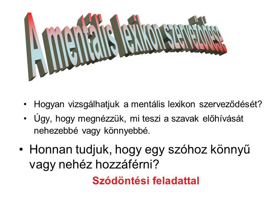 •Hogyan vizsgálhatjuk a mentális lexikon szerveződését.