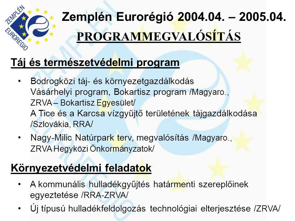 Zemplén Eurorégió 2004.04. – 2005.04. Táj és természetvédelmi program •Bodrogközi táj- és környezetgazdálkodás Vásárhelyi program, Bokartisz program /