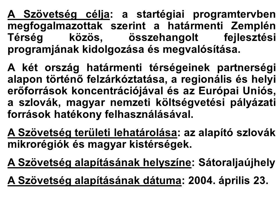A Szövetség célja: a startégiai programtervben megfogalmazottak szerint a határmenti Zemplén Térség közös, összehangolt fejlesztési programjának kidol