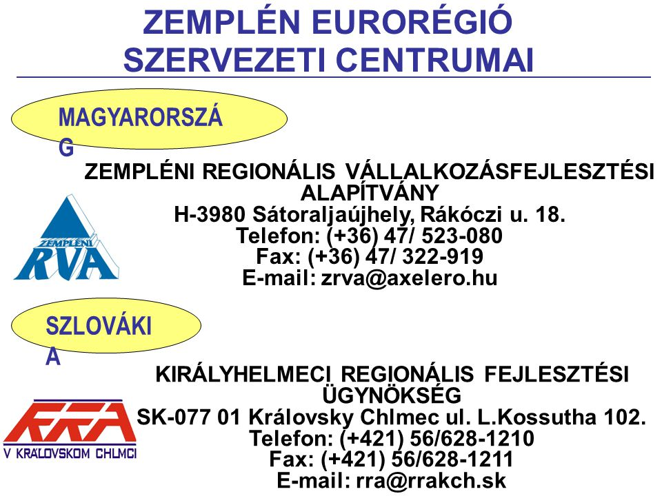 ZEMPLÉN EURORÉGIÓ SZERVEZETI CENTRUMAI ZEMPLÉNI REGIONÁLIS VÁLLALKOZÁSFEJLESZTÉSI ALAPÍTVÁNY H-3980 Sátoraljaújhely, Rákóczi u. 18. Telefon: (+36) 47/