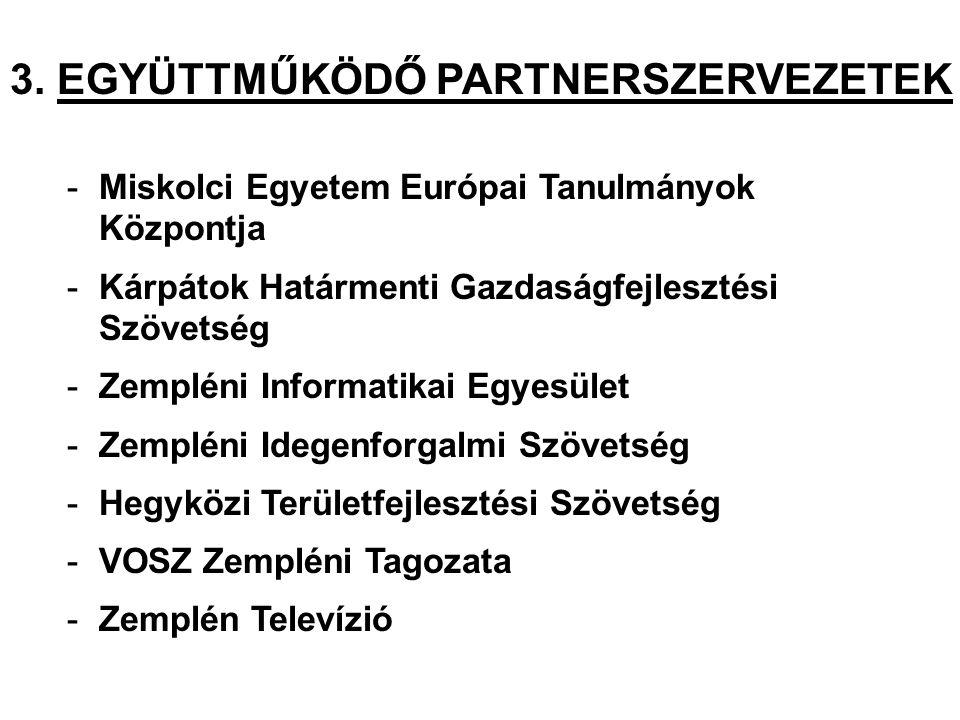 3. EGYÜTTMŰKÖDŐ PARTNERSZERVEZETEK -Miskolci Egyetem Európai Tanulmányok Központja -Kárpátok Határmenti Gazdaságfejlesztési Szövetség -Zempléni Inform