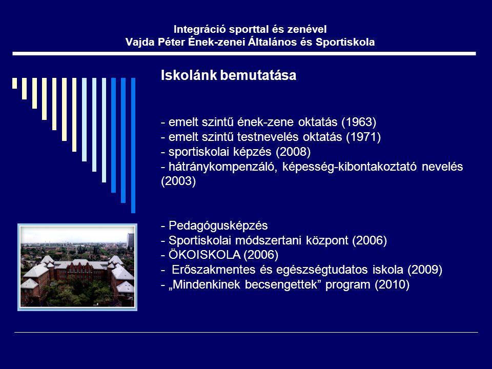 """Iskolánk bemutatása - emelt szintű ének-zene oktatás (1963) - emelt szintű testnevelés oktatás (1971) - sportiskolai képzés (2008) - hátránykompenzáló, képesség-kibontakoztató nevelés (2003) - Pedagógusképzés - Sportiskolai módszertani központ (2006) - ÖKOISKOLA (2006) - Erőszakmentes és egészségtudatos iskola (2009) - """"Mindenkinek becsengettek program (2010) Integráció sporttal és zenével Vajda Péter Ének-zenei Általános és Sportiskola"""