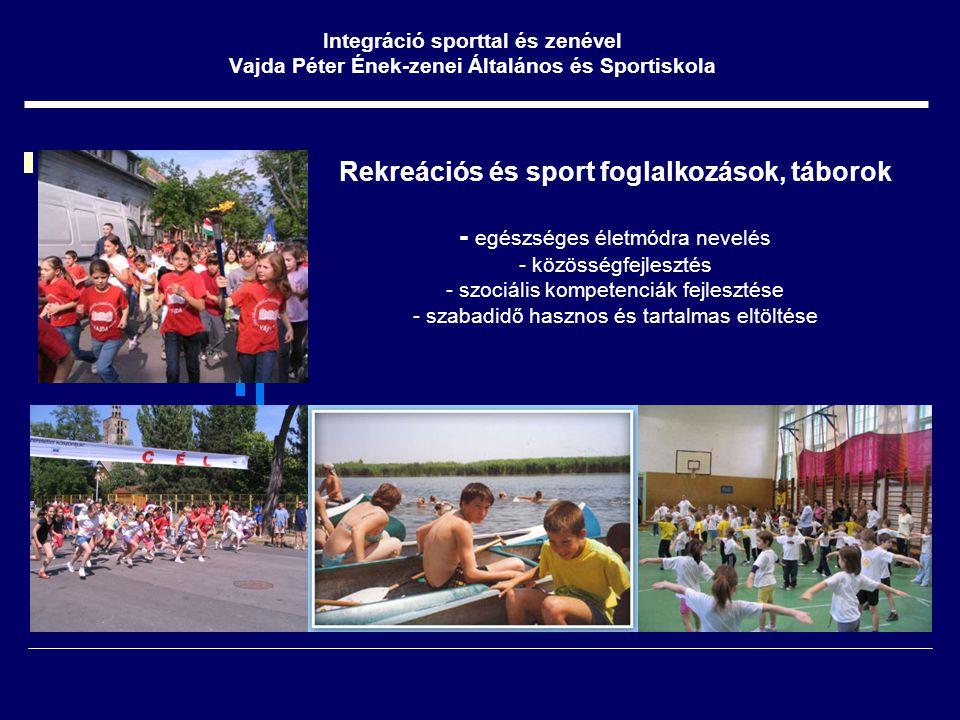 Rekreációs és sport foglalkozások, táborok - egészséges életmódra nevelés - közösségfejlesztés - szociális kompetenciák fejlesztése - szabadidő hasznos és tartalmas eltöltése Integráció sporttal és zenével Vajda Péter Ének-zenei Általános és Sportiskola