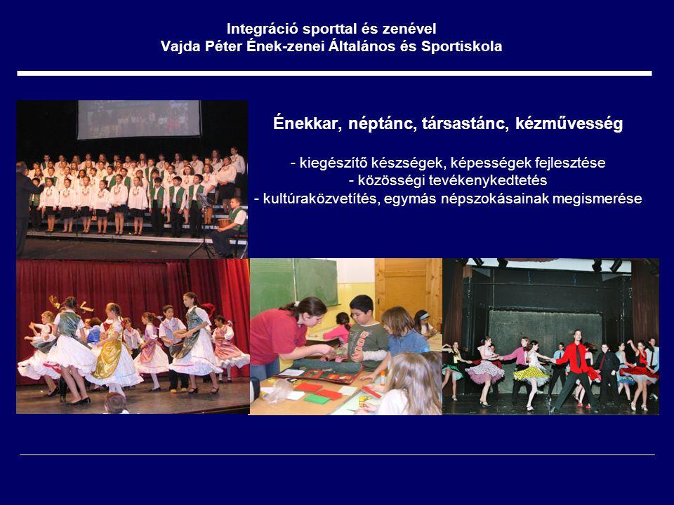 Énekkar, néptánc, társastánc, kézművesség - kiegészítő készségek, képességek fejlesztése - közösségi tevékenykedtetés - kultúraközvetítés, egymás népszokásainak megismerése Integráció sporttal és zenével Vajda Péter Ének-zenei Általános és Sportiskola