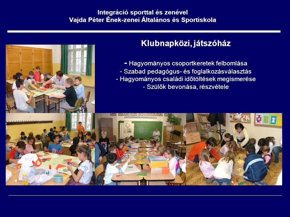 Klubnapközi, játszóház - Hagyományos csoportkeretek felbomlása - Szabad pedagógus- és foglalkozásválasztás - Hagyományos családi időtöltések megismerése - Szülők bevonása, részvétele Integráció sporttal és zenével Vajda Péter Ének-zenei Általános és Sportiskola