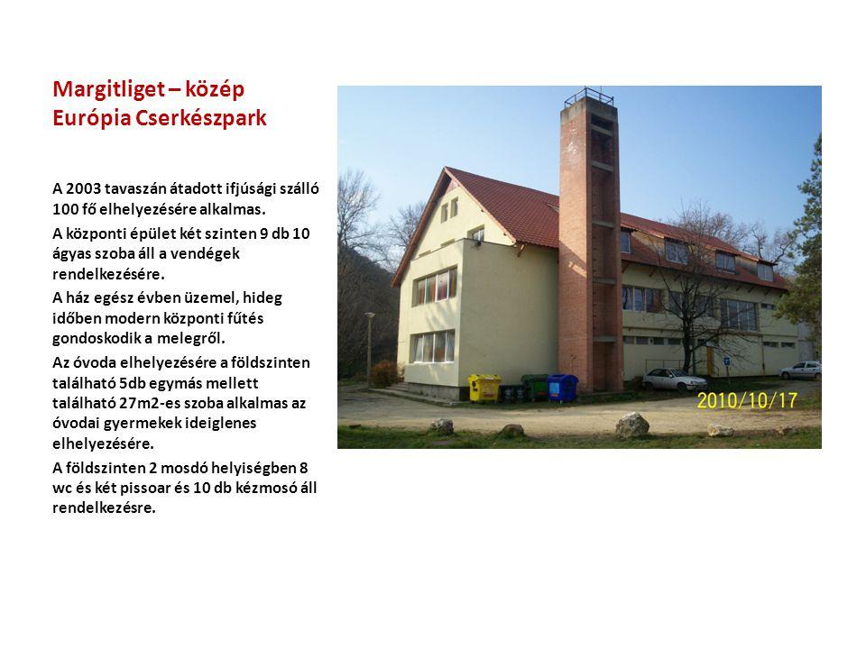 Margitliget – közép Európia Cserkészpark A 2003 tavaszán átadott ifjúsági szálló 100 fő elhelyezésére alkalmas.