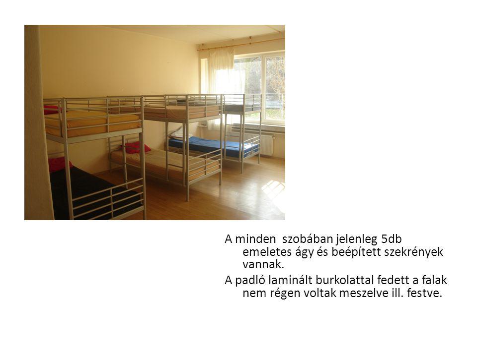 A minden szobában jelenleg 5db emeletes ágy és beépített szekrények vannak.