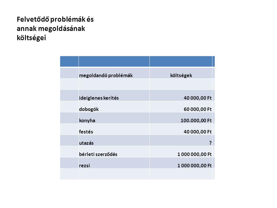 Felvetődő problémák és annak megoldásának költségei megoldandó problémák költségek ideiglenes kerítés 40 000,00 Ft dobogók 60 000,00 Ft konyha100.000,00 Ft festés 40 000,00 Ft utazás .