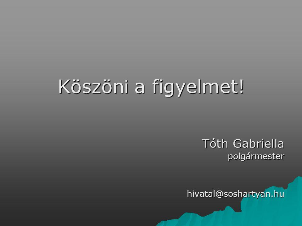 Köszön i a figyelmet! Tóth Gabriella polgármesterhivatal@soshartyan.hu