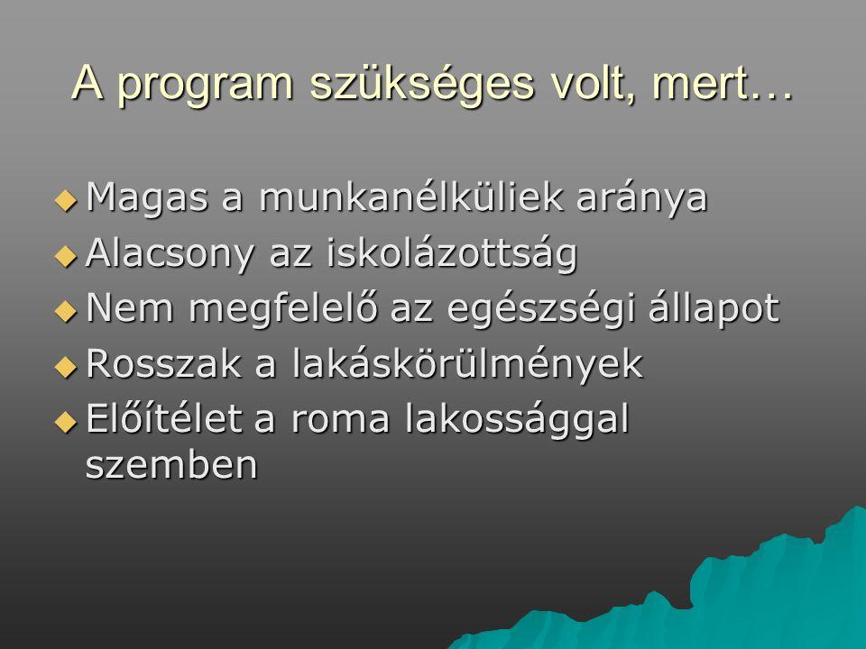 A program szükséges volt, mert…  Magas a munkanélküliek aránya  Alacsony az iskolázottság  Nem megfelelő az egészségi állapot  Rosszak a lakáskörülmények  Előítélet a roma lakossággal szemben