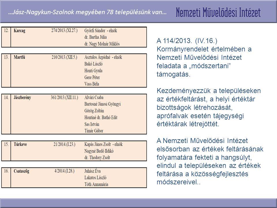 """A 114/2013. (IV.16.) Kormányrendelet értelmében a Nemzeti Művelődési Intézet feladata a """"módszertani"""" támogatás. Kezdeményezzük a településeken az ért"""