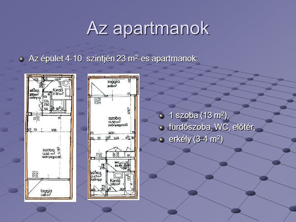 Az apartmanok Az épület 4-10. szintjén 23 m 2 -es apartmanok: 1 szoba (13 m 2 ), fürdőszoba, WC, előtér, erkély (3-4 m 2 )