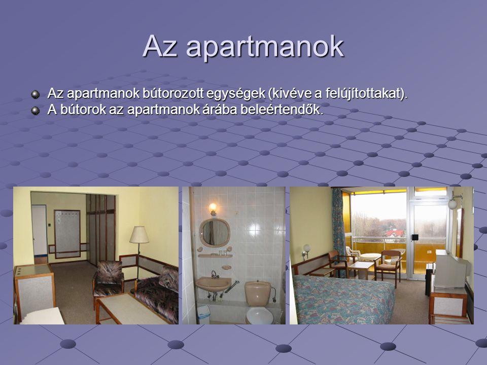 Az apartmanok Az apartmanok bútorozott egységek (kivéve a felújítottakat). A bútorok az apartmanok árába beleértendők.