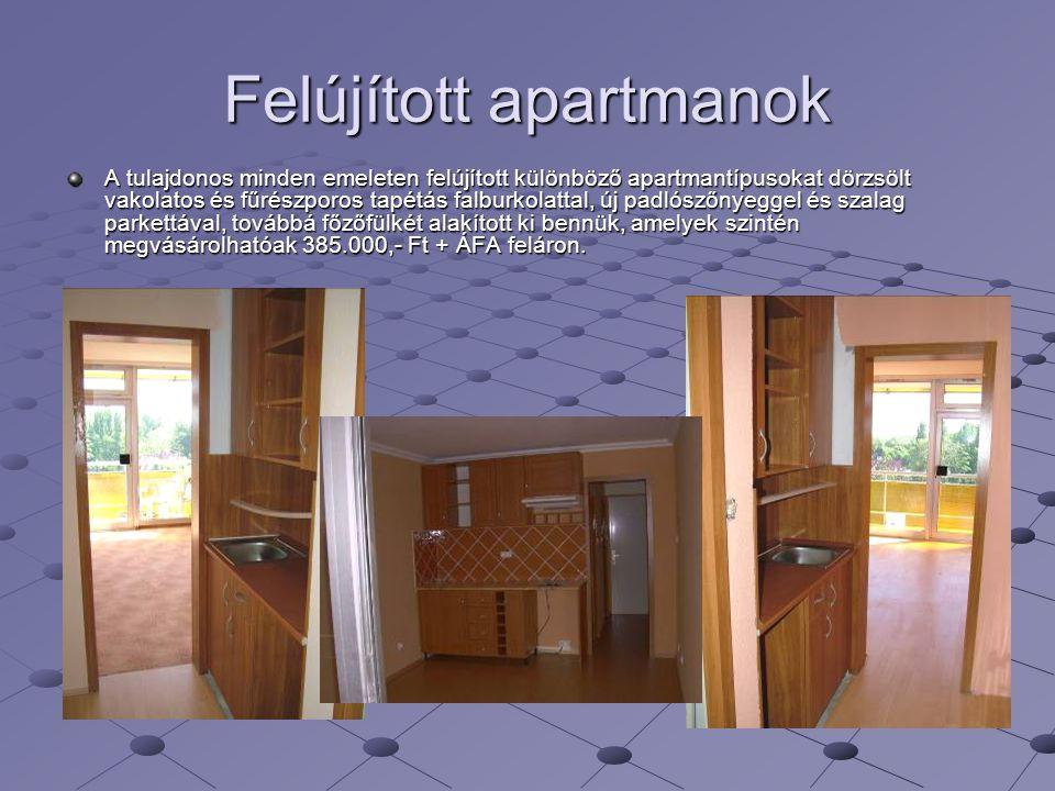 Felújított apartmanok A tulajdonos minden emeleten felújított különböző apartmantípusokat dörzsölt vakolatos és fűrészporos tapétás falburkolattal, új