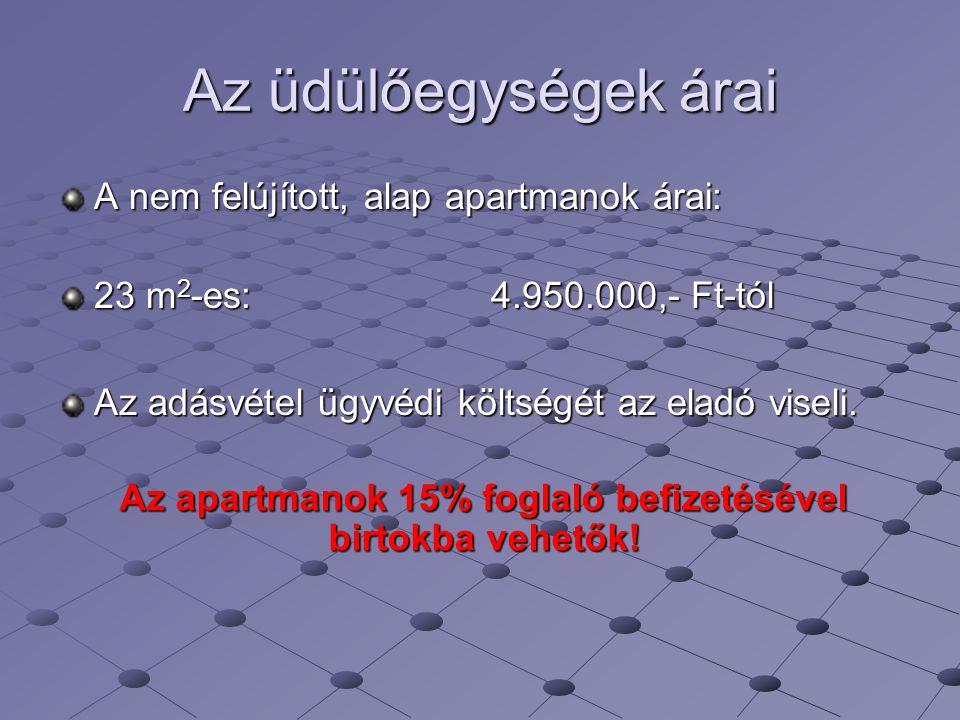 Az üdülőegységek árai A nem felújított, alap apartmanok árai: 23 m 2 -es: 4.950.000,- Ft-tól Az adásvétel ügyvédi költségét az eladó viseli. Az apartm
