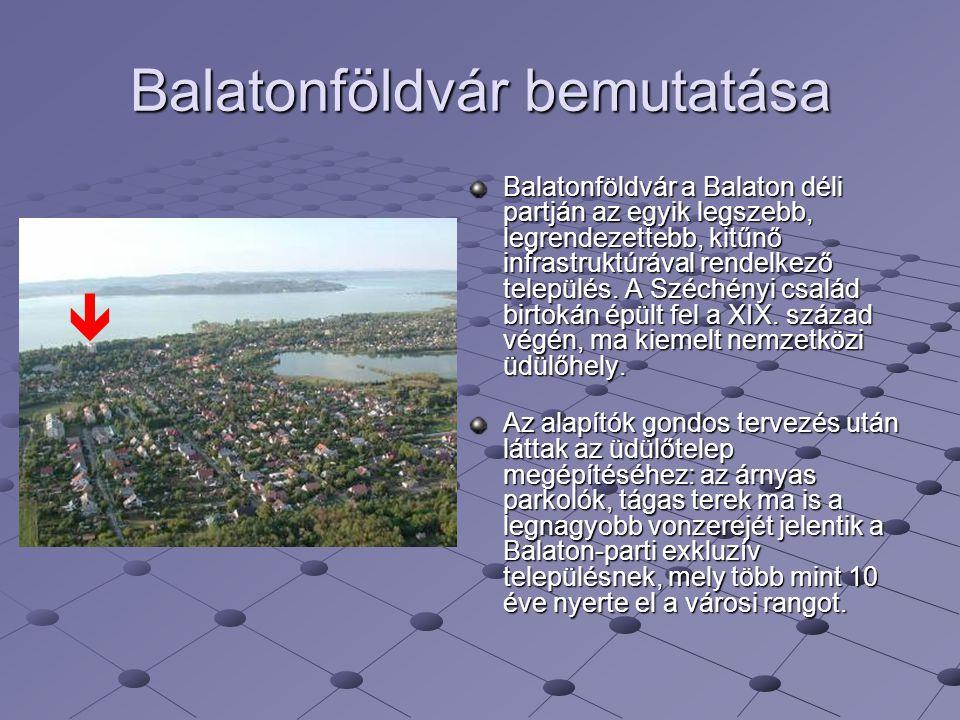Balatonföldvár bemutatása Balatonföldvár a Balaton déli partján az egyik legszebb, legrendezettebb, kitűnő infrastruktúrával rendelkező település. A S