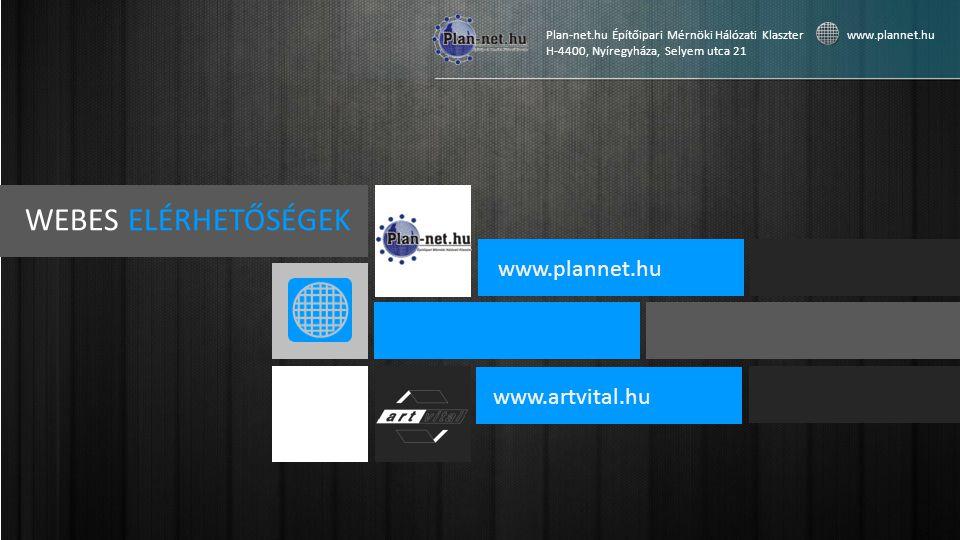 WEBES ELÉRHETŐSÉGEK www.plannet.hu www.artvital.hu Plan-net.hu Építőipari Mérnöki Hálózati Klaszter www.plannet.hu H-4400, Nyíregyháza, Selyem utca 21