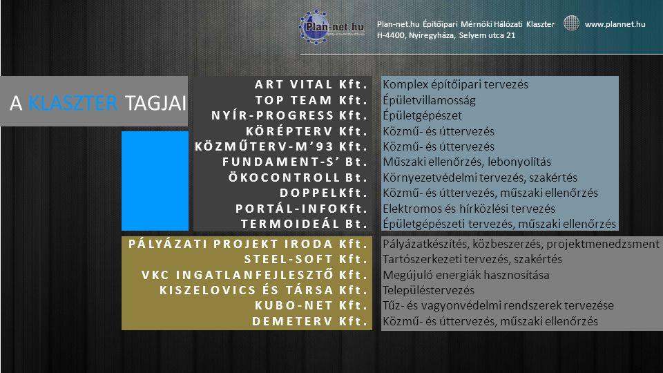 A KLASZTER TAGJAI Plan-net.hu Építőipari Mérnöki Hálózati Klaszter www.plannet.hu H-4400, Nyíregyháza, Selyem utca 21 ART VITAL Kft.