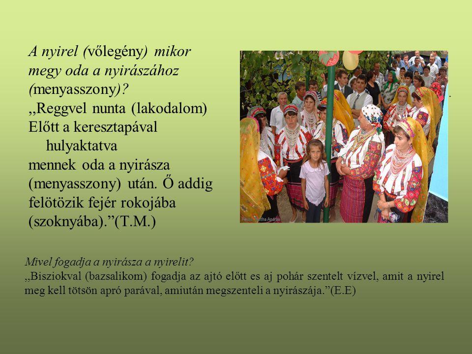 A nyirel (vőlegény) mikor megy oda a nyirászához (menyasszony)?,,Reggvel nunta (lakodalom) Előtt a keresztapával hulyaktatva mennek oda a nyirásza (menyasszony) után.
